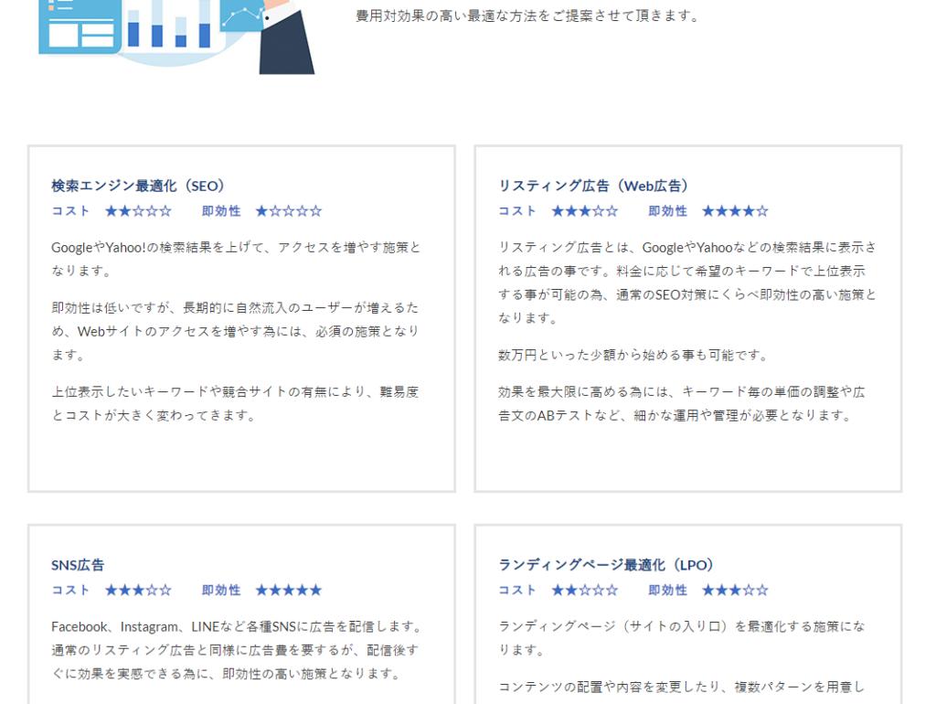 webマーケティングページ